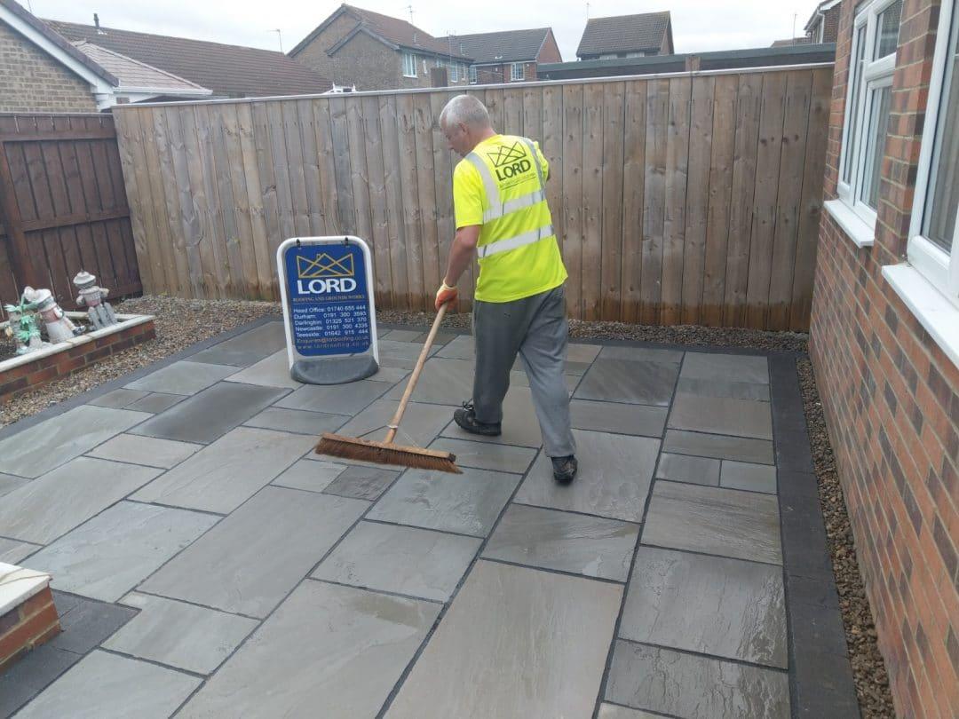 Gateshead Indian Sandstone Patio To Raised Brick Planters