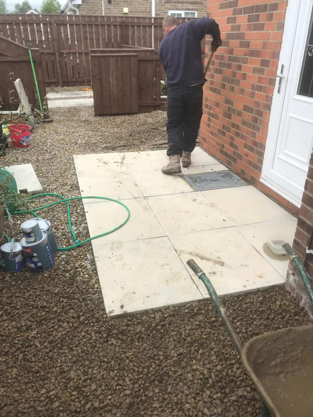 Gateshead Indian Sandstone Patio To Raised Brick Planters